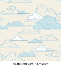 Clouds seamless pattern hand-drawn illustration