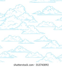 Clouds seamless pattern hand-drawn illustration on white sky background, texture for print, wrapping paper, fabric and wallpaper
