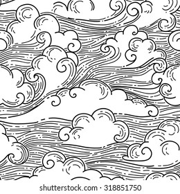 Clouds seamless pattern. Hand-drawn illustration. Black and white vector background