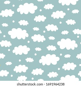 Clouds Seamless Pattern. Scandinavian Fashion Pattern. White Clouds on Blue Background. Vector EPS 10.