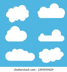 Clouds set in flat design. Blue sky with white clouds.  Icon or logo collection.