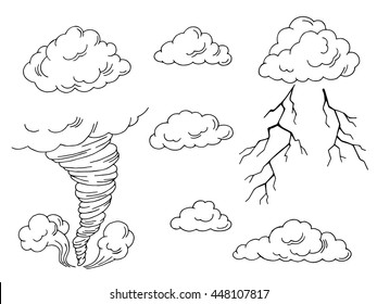 Clouds set graphic tornado lightning art black white isolated illustration vector