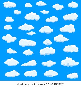 Clouds set isolated on blue background. Collection of clouds for web site, poster, placard and wallpaper. Creative modern concept. Clouds vector illustration