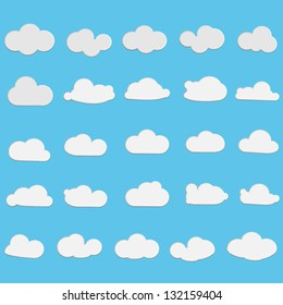 Clouds - Set - Isolated On Blue Background - Vector Illustration, Graphic Design Editable For Your Design. Logo Symbols
