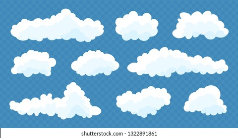 Clouds set isolated on a blue transparent background. Simple cute cartoon design. Icon or logo collection. Realistic elements. Flat style. Vector illustration