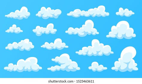 Clouds set isolated on a blue background. Simple cute cartoon design. Modern icon or logo collection. Realistic elements. Flat style vector illustration.