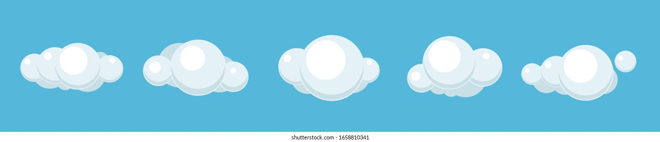 Clouds set isolated on a blue background. Simple cute cartoon design. Icon or logo collection. Realistic elements. Flat style vector illustration. - Shutterstock ID 1658810341
