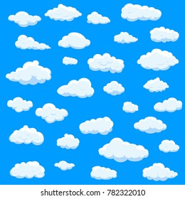 Clouds set isolated on blue background.Collection for web site,poster,placard and wallpaper. Creative modern concept, vector illustration