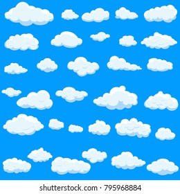 Clouds set isolated on blue background.Collection of clouds for web site,poster,placard and wallpaper. Creative modern concept. Clouds vector illustration