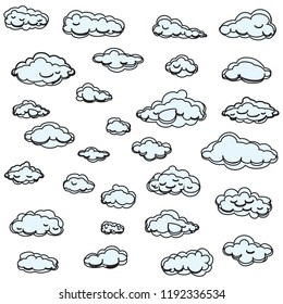 Clouds set isolated on white background. Collection of clouds for web site, poster, placard and wallpaper. Creative modern concept. Clouds vector illustration