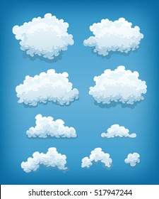 Clouds Set On Blue Sky Background/ Illustration of a cartoon set of clouds and smoke shapes, on blue sky background