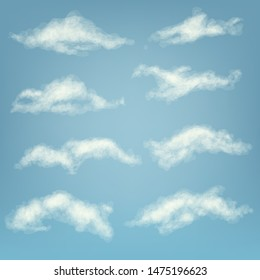 Clouds set in the sky. Vector realistic illustration