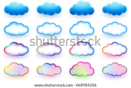 Clouds Shape Different Signs Elements Symbols Stock Vector Royalty