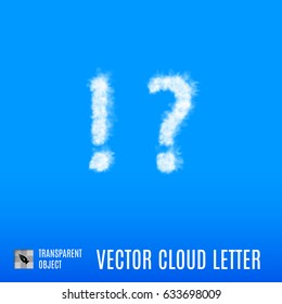 Clouds in Shape of the Exclamation and Question Marks on Blue Background