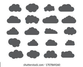 Clouds silhouettes. Vector set of clouds shapes. Collection