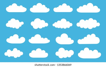 Clouds in the sky. Blue background. Set. Banners. Dialogues. Print on paper. Vector