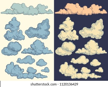 Clouds in the sky. Design set. Hand drawn engraving. Editable vector vintage illustration. Isolated on white and dark background. 8 EPS