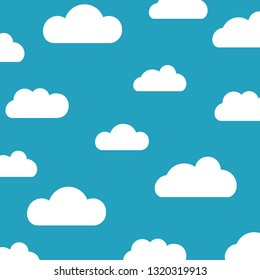 Clouds sky pattern isolated on blue background. Seamless clouds, sky pattern for web site, label, banner, backdrop and wallpaper. Creative art concept. Cute clouds, modern vector illustration