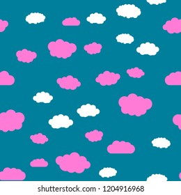 Clouds and sky Seamless vector EPS 10\nMulticolor Figures. Texture for print and Banner. Flat style\n