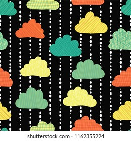 Clouds in the sky seamless vector pattern background. Teal, green, orange, and yellow rain clouds on a black and white striped background. Great for kids, fabric, paper, web banners, wallpaper. Season