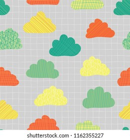 Clouds in the sky seamless vector pattern background. Teal, green, orange, and yellow cute doodle clouds on a gray texture grid. Great for kids, fabric, paper, web banners, wallpaper. Seasonal print.