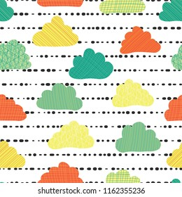 Clouds in the sky seamless vector pattern background. Teal, green, orange, and yellow clouds on a black and white striped background. Great for kids, fabric, paper, web banners, wallpaper. Season