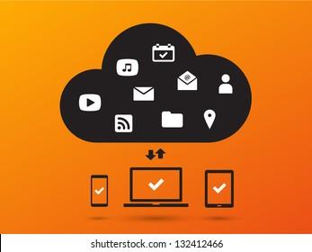 Clouds for social networks on orange background. Cloud computing concept. Vector illustration.