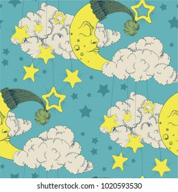 Clouds, stars and crescent vector seamless pattern night texture with moon green background