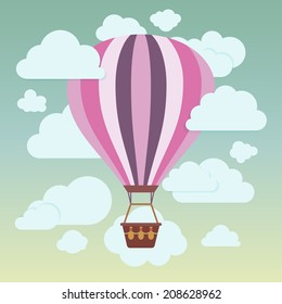 Clouds and striped hot air balloon on a blue background. Vector illustration