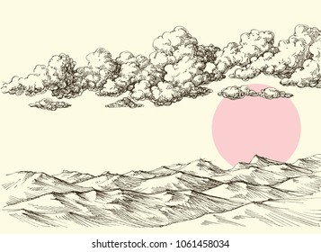 Clouds and sun over desert sand dunes. Desert landscape drawing