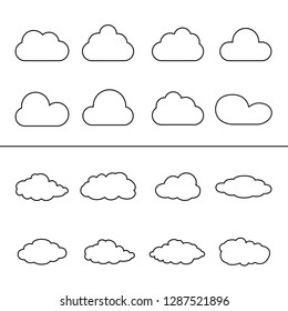 Clouds thin line icon set isolated on white background. Different clouds, weather symbol. Outline icon collection for web site, sticker and label.Creative art design,modern concept.Vector illustration