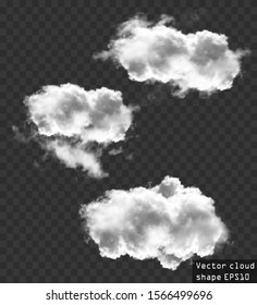 Clouds vector collection, cloud shapes illustration. Realistic white fluffy clouds isolated over transparent background. Vector resizable clouds collection