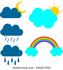 Clouds vector at daytime and clouds at nighttime. Clouds on rainy days and clouds on sunny days. A rainbow after the storm.
