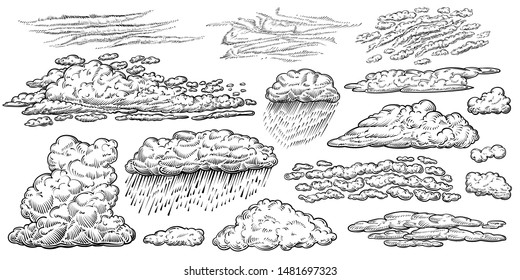 Clouds vector hand drawn set. Different types of cloud drawings: cumulus, rain, cirrus, stratus clouds and other. Weather line sketches in vintage style.