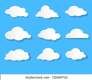 Clouds vector icon set white color on blue background. Sky flat illustration collection for web, art and app design. Different nature cloudscape weather symbols.