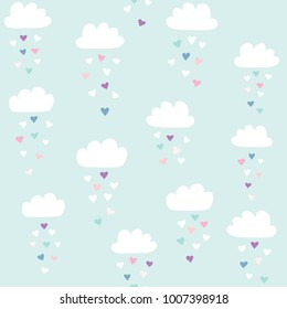 Clouds vector pattern with colorful hearts rain. Cute seamless background for Valentine's day. Illustration for babies, kids.