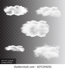 Clouds vector set, cloud shapes illustration, realistic white fluffy clouds isolated over transparent background