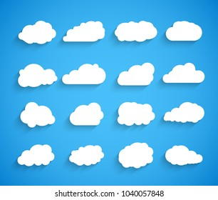 Clouds vector set. Sky clouds icon illustration. Weather symbol web collection.