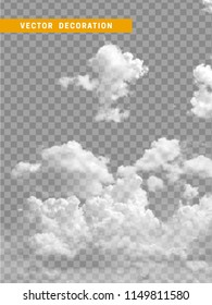 Clouds white realistic isolated on transparent background.