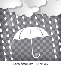 clouds with white umbrella and rain drops on a chequered background
