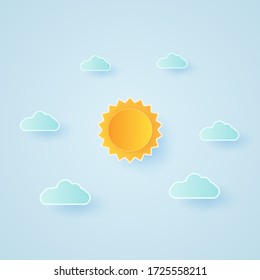 Cloudscape, blue sky with clouds and bright sun, paper art style