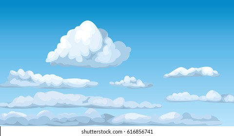 Cloudscape blue sunny sky clouds fluffy cumulus atmosphere heaven vector