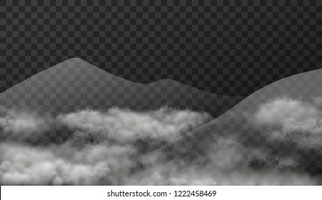 Cloudscape with mountains in mist isolated on transparent background. Vector texture illustration of realistic landscape with smoky clouds effect.