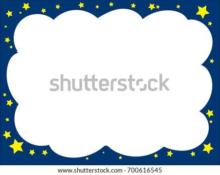 cloudshaped border dark blue color yellow stock vector royalty free