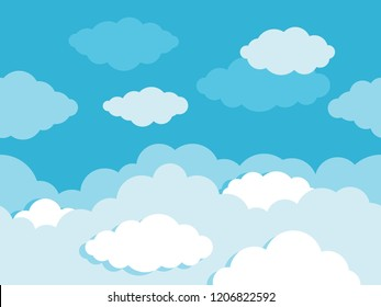 Cloudy blue sky - seamless vector wallpapers decoration with cartoon flat clouds