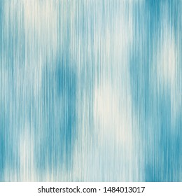 Cloudy blue and white vertical line ikat seamless repeat vector pattern swatch.  Bleached, sea foam, hazy, rinsed, dreamy, damaged, foggy, variegated, gradient, ombre.  Home decor.