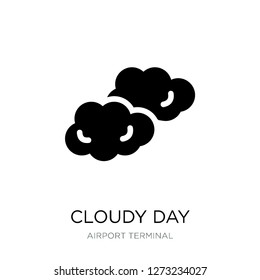cloudy day icon vector on white background, cloudy day trendy filled icons from Airport terminal collection, cloudy day simple element illustration