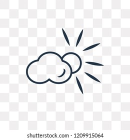 Cloudy Day vector outline icon isolated on transparent background, high quality linear Cloudy Day transparency concept can be used web and mobile