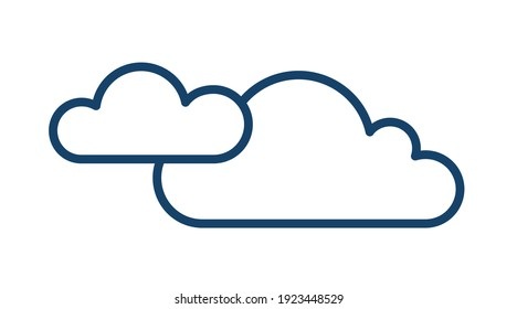 Cloudy and overcast weather icon with two clouds in line art style. Abstract simple logo. Contoured flat vector illustration isolated on white background
