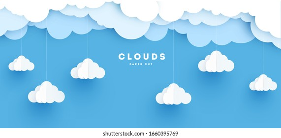 Cloudy paper cut art, vector illustration. Volumetric cloudscape horizontal background. Banner with 3d clouds on blue sky